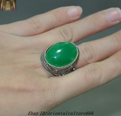 Collect Old Chinese Exquisite Tibetan Silver inlay Gem Jade jewelry Ring Rings