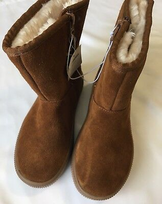 Cat & Jack Toddler Girls Suede Boots Size 11 Kya Cozy Chestnut Zipper Closure