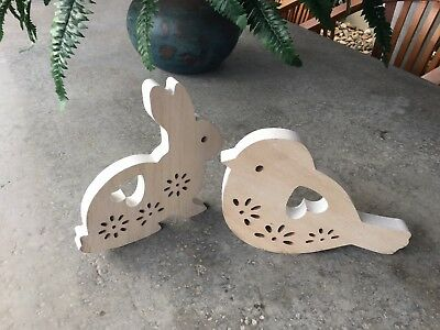 *NEW* Rabbit + Bird Wall Figurines or Book Ends - Set of 2