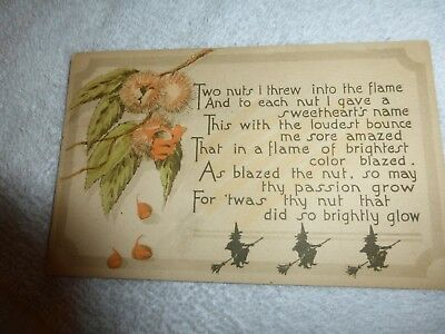 RARE- Vintage Halloween Postcard -Three Witches Sailing Under The Nut Tree