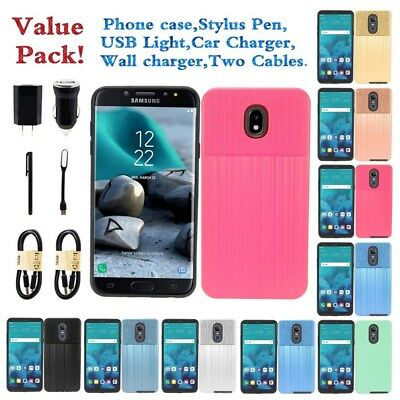 For Galaxy J7 2018 Metal Brush Design Texture Soft TPU Slim Shockproof Case Cove