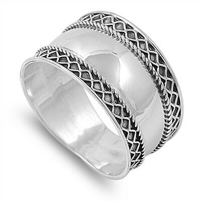 925 STERLING SILVER Oxidized Boho Wide Thumb Ring Plus Size 10 11 12 13 T V X Z