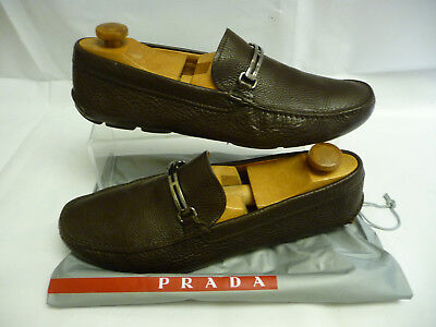 71ead9b22ef6 ... germany prada mens loafers driving shoes 11 fits 12 brown pebblegrn  leather bit italy f39e3 c2f91