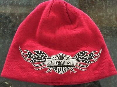 Harley Davidson Womens Red Biker Knit Cap With Blingy Bar & Shield Winged Nwot!