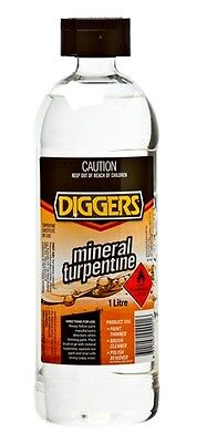 Diggers Mineral Turpentine Turps 1L Paint Thinner Brush Cleaner Wax Remover