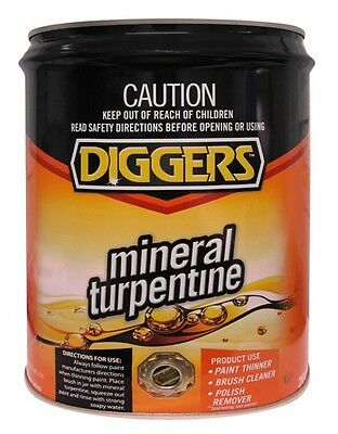 Diggers Mineral Turpentine Turps  20L Drum Bulk Paint Thinners Brush Cleaner