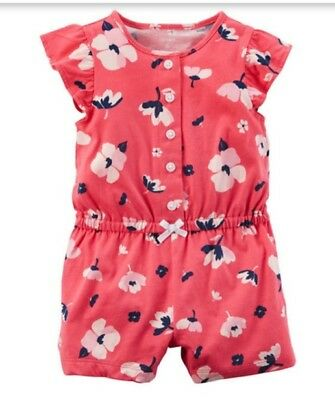 1ca4e5c12cac Carter s Girl ~ Flower Cotton Snap Up Romper ~ Short Sleeve ~ 9M ~ New w