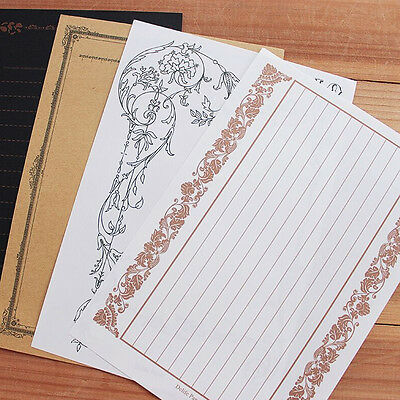 8Pcs/Set Vintage Design Letter Writing Paper Classic Stationery Kids Gifts