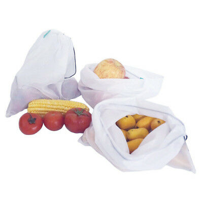 15x Eco Friendly Reusable Mesh Produce Bags Superior Double-Stitched Strength oP