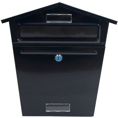 Black Mailbox Postbox Letterbox Wall Mounted Post Mail Letter Box Lockable Metal