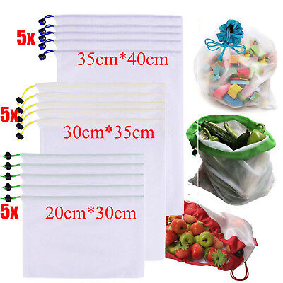 15x Eco Friendly Reusable Mesh Produce Bags Superior Double-Stitched Strength AT