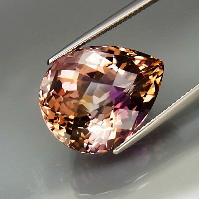 18.12Ct.Real Natural BIG Purple&Golden Bolivia Ametrine Pear Checkerboard Clean!