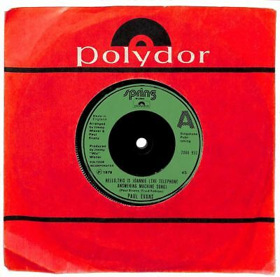 """Paul Evans - Hello, This Is Joannie (The Telephone Answering Machine Song) - 7"""""""