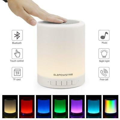 ELEPOWSTAR Bluetooth Wireless Speakers, Touch Sensor Bedside Table Lamp, Color