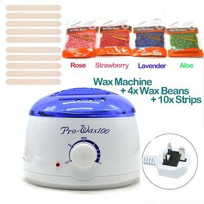 Complete Waxing Kit Hard Flexible Pearl Wax Beads 400g Heater Hair Removal Set