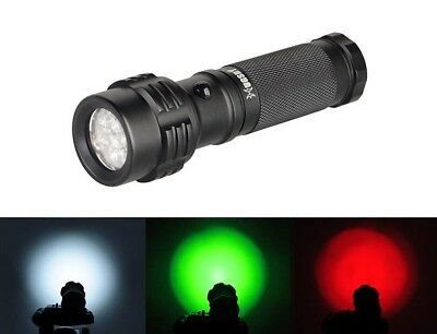 Hugsby 3 Color 11 LED Emitter 3xAAA White Green Red Lamp Signal Flashlight Torch