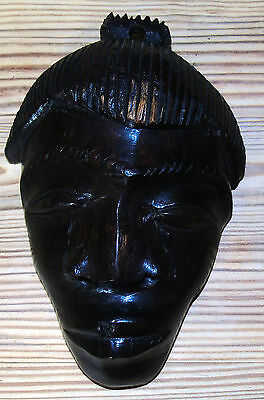 Vintage Hand carved African Wall mask Harwood poss mahogany or ebony