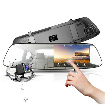 "4.3"" AutoKamera Touch Screen Mirror Dashcam FHD 1080P Rearview Dual Lens DVR Cam"