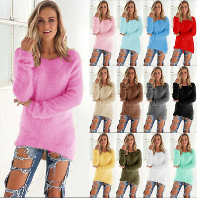 UK Women's Fluffy Sweater Jumper Ladies Casual Long Sleeve Pullover Tops Blouse