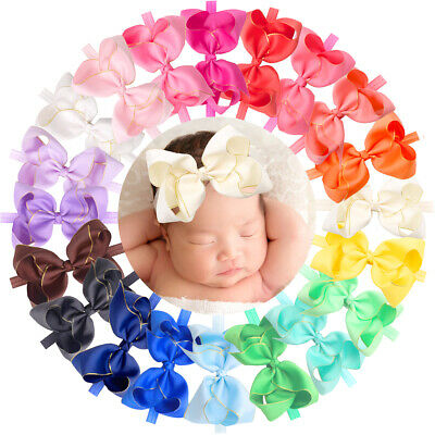 """Baby Headband 4"""" Big Chiffon Hair Bow Lace Band for Newborn Infant Toddlers Kids"""