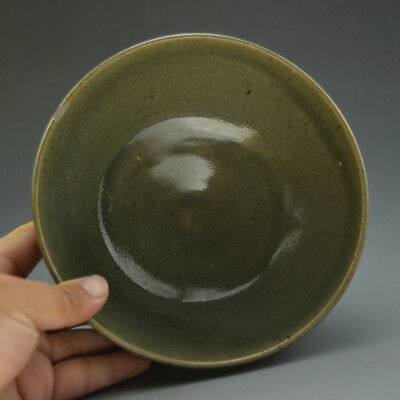 Excellent Chinese Ancient Pea Green Glazed Porcelain Large Rim Bowl 6.69""