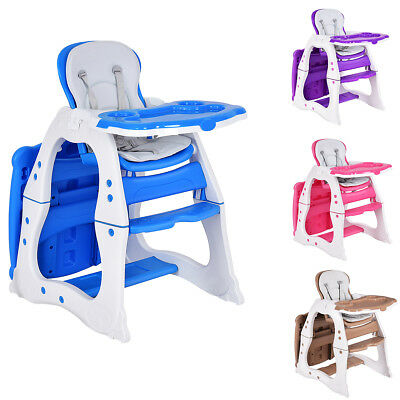 3 in 1 Baby High Chair Convertible Play Table Seat Toddler Feeding Tray 4 Colors