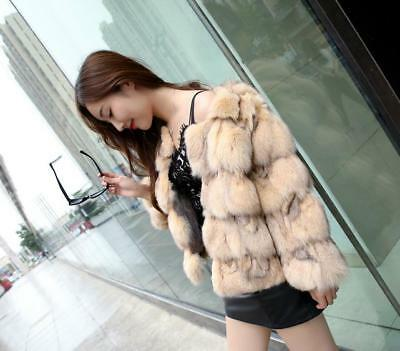 Elegance 100% Real Fox Head Fur Splicing Short Coat Jacket Ladies Coat
