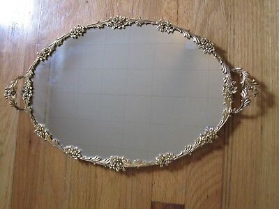 Vintage Oval Ornate Gold-Tone Vanity Mirrored  Tray