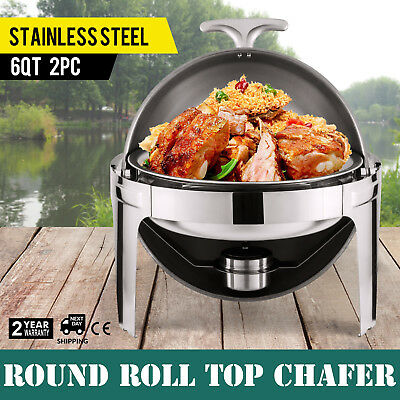 Stainless Steel Round Roll Top Chafer 6 Quart Chafing Dish Set of 2
