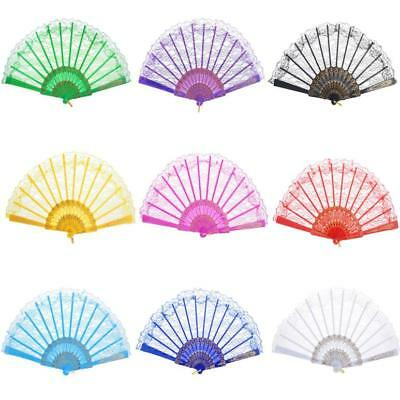 Chinese Style Fan Floral Lace Hand Held Folding Fan Dance Party Wedding Decor