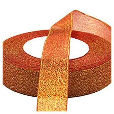 22 Metres 25mm Double Sided Satin Glitter Ribbons Bling Bows Reels Wedding G6J8