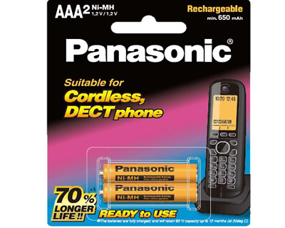 Panasonic BK-4LDAW/2BT AAA  2 Pack 650 mAh Replacement Cordless Phone Batteries