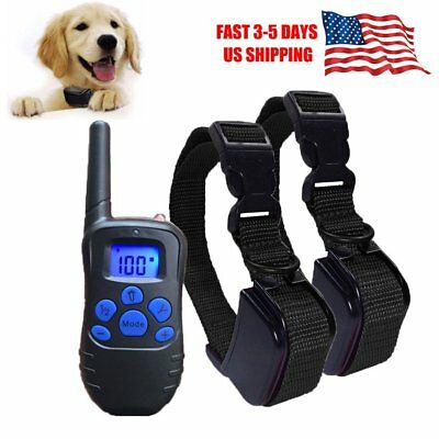 Electric Dog Collar Shock Waterproof Rechargeable Petrainer Remote Training LCD