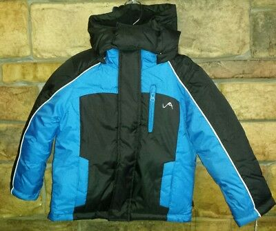 8e45d07b2fa Toddler Boys Vertical  9 Puffer Jacket Black Blue Winter Coat Hood Sz 2T    NEW