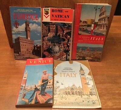 Lot of 5 Vintage Italy Travel Guides/Items Rome/Vatican, Venice, Florence Etc.