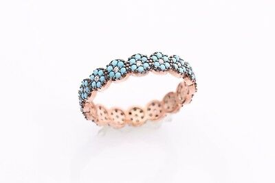 Turkish Handmade Jewelry Turquoise Topaz 925 Sterling Silver Band Ring All Sizes