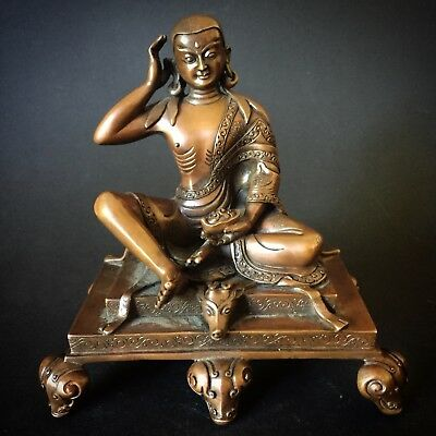 Buddha Mila-Raspa Bronze Tibet China old bronze Asia india China antiques Nepal