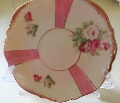 Napco/Napcoware SAucer, Lusterware, C-7120, excellent Condition, pink and white