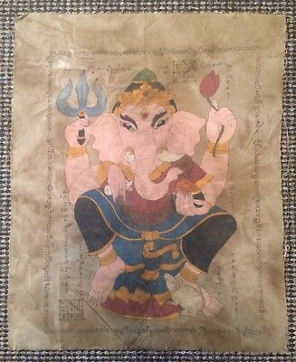Antique Temple Painting Of Lord Ganesh Chaturthi On Cloth. Northern Burma/Siam