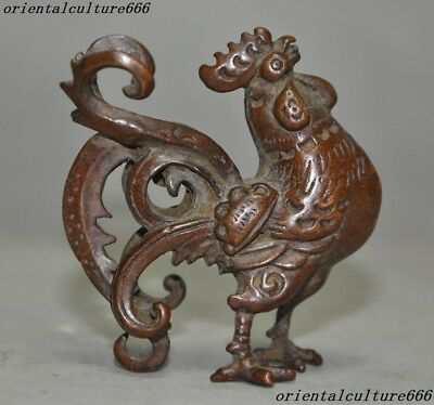 Old China Pure Bronze Fengshui Animal Golden Rooster Roosters Cock Lucky Statue