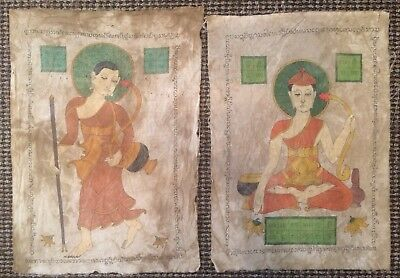 Pair Of Antique Temple Paintings Of Burmese Monks On Cloth. Northern Burma