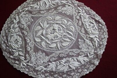 Antique French Normandy Lace White Work Doily- Touraine Hand Made Embroideries