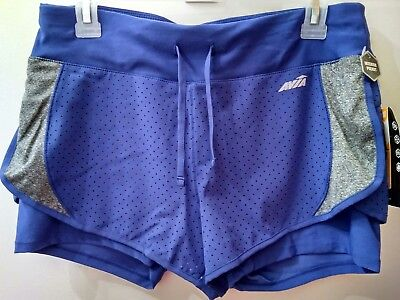 f2f635ab2ec Avia Women s Perforated FlyAway Running Built in Compression Shorts Size  Large