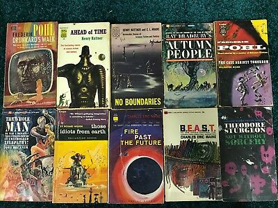 Lot of 10  Ballantine Vintage Sci-Fi Paperbacks - PBO - Great Covers