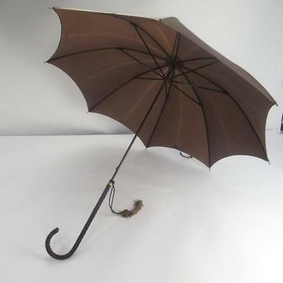 Vintage Brown Umbrella / Parasol with Stitched Leather Handle and Tassel Detail