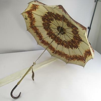 Vintage Floral Pattern Umbrella / Parasol with Mother of Pearl Effect Handle