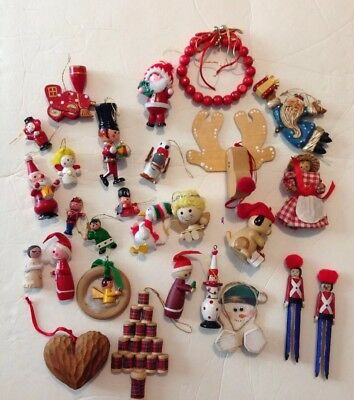 Lot of 27 Vintage Wooden Christmas Ornaments Hand Painted Wood Decorations
