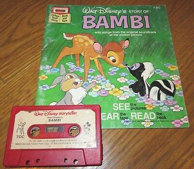 Walt Disney Storyteller BAMBI Read/Sing Along BOOK on TAPE Cassette AUDIOBOOK