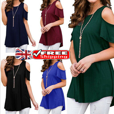 Plus Size Women Summer Cold Shoulder Tee Top Short Sleeve Blouse Casual  T-Shirt