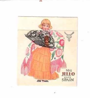 Miss Jello Visits Spain fold out recipe card - 1950's